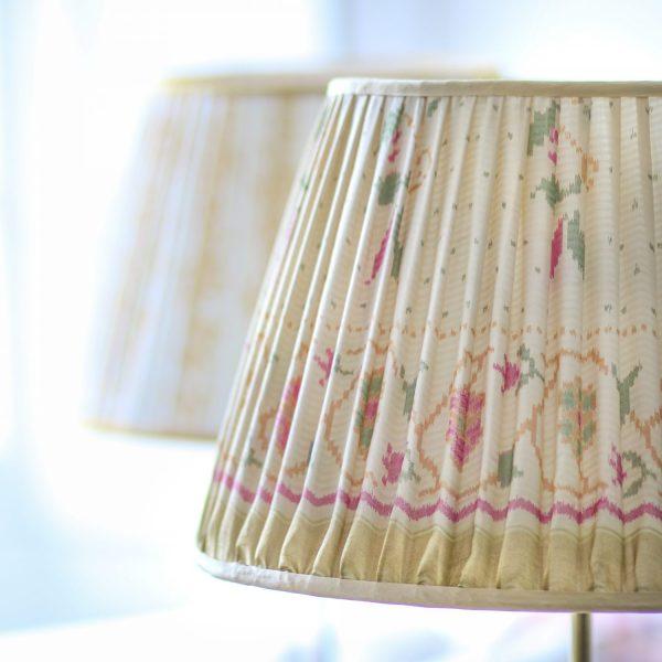 lampshades, sari lampshades, shenouk, luxury lampshades, indian lampshades, uk lampshades, online shopping lampshades, yellow lampshades, gathered lampshades, block print lampshade